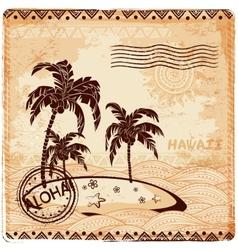 vintage island in ocean vector image