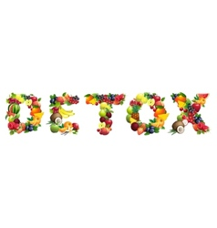 Word detox composed different fruits vector