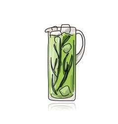 Cocktail in jug sketch for your design vector image