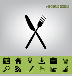 fork and knife sign black icon at gray vector image
