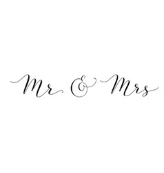 mr and mrs words with ampersand mister and missis vector image vector image