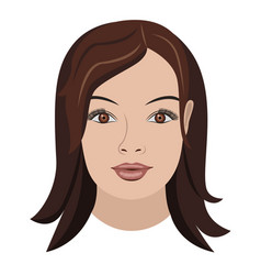 object face long brown hair vector image vector image