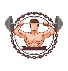 sticker border with muscle man lifting a disc vector image vector image