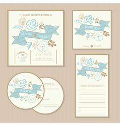 Wedding vintage invitation cards vector