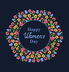womens day march 8 flower wreath greeting card vector image