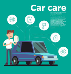 cars tips young man with vector image vector image