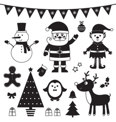Christmas set isolated black elements vector image vector image