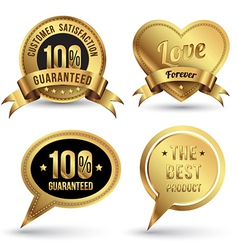 Gold badges set embroidery style vector image vector image