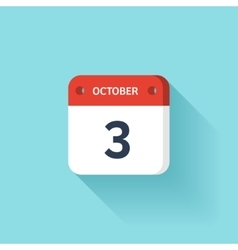 October 3 Isometric Calendar Icon With Shadow vector image vector image