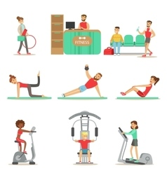 People Member Of The Fitness Class Working Out vector image
