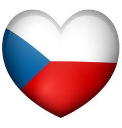 badge design for czech republic in heart shape vector image vector image
