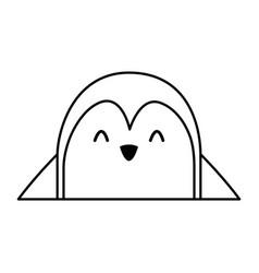 cute penguin face cartoon vector image