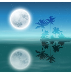 Sea with island with palm trees and full moon vector image