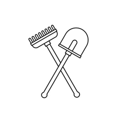 Shovel and rake garden tools icon outline style vector image