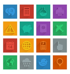 square media icons set 3 vector image vector image