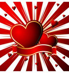 starry valentines over red vector image vector image