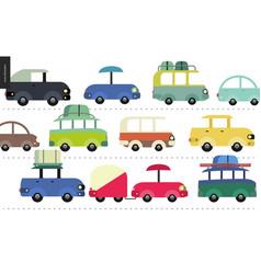 traffic jam scene vector image