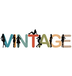 Vintage background with women silhouettes vector image vector image