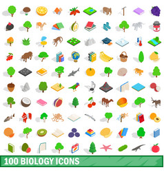 100 biology icons set isometric 3d style vector image vector image