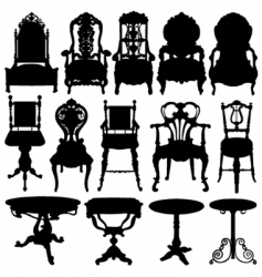 antique chair and table vector image vector image