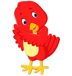 cute red bird cartoon vector image