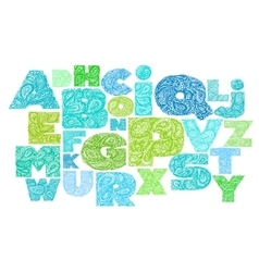 Decorative Alphabet with a paisley zen doodle vector image