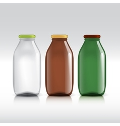 Realistic bottles of glass package for milk vector image vector image