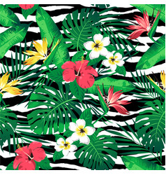 tropical flowers and leaves on zebra striped vector image vector image