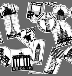 vintage paper landmarks travel labels seamless vector image vector image