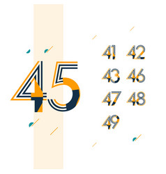 45 year retro anniversary set celebration vector