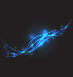 abstract blue line light wave on black luxury vector image