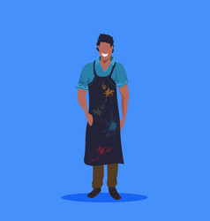 african american man painter in dark apron vector image