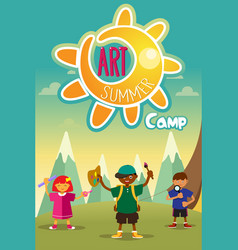 art summer camp poster vector image