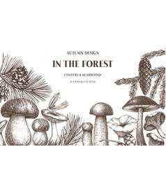 Autumn forest design hand drawn edible mushroom vector