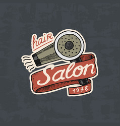 Barbershop badge label logo hair dryer for man vector