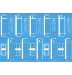 battery outlines icon on a blue colored background vector image
