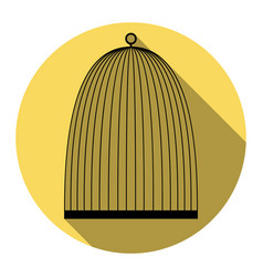 bird cage sign flat black icon with flat vector image