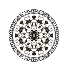 Black round floral ornament vector