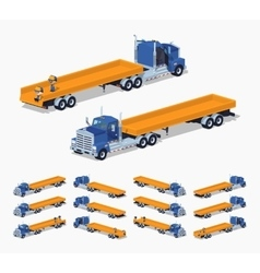 Blue heavy truck and trailer with the yellow open vector