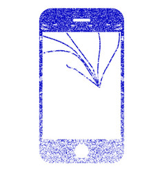 Broken smartphone screen textured icon vector