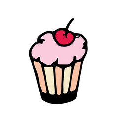 cake with cherry cartoon icon vector image