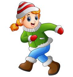 cartoon girl wearing winter clothes vector image
