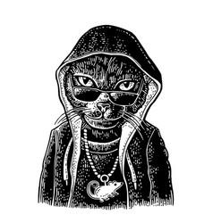 Cat rapper dressed necklace with rat vintage vector