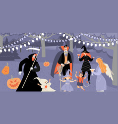 celebrating halloween in garden vector image