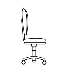 Chair office wheel soft profile outline vector