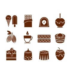 Chocolate and candy icons set vector