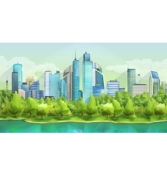City and nature landscape vector