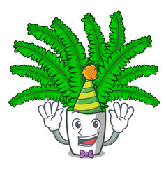 Clown fresh fern branch isolated on mascot vector