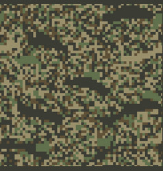 Colorful seamless pattern pixel camouflage forest vector