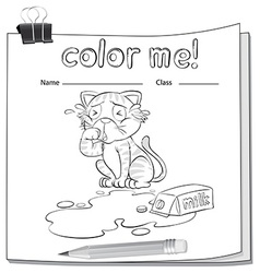 Coloring worksheet with a crying cat vector image
